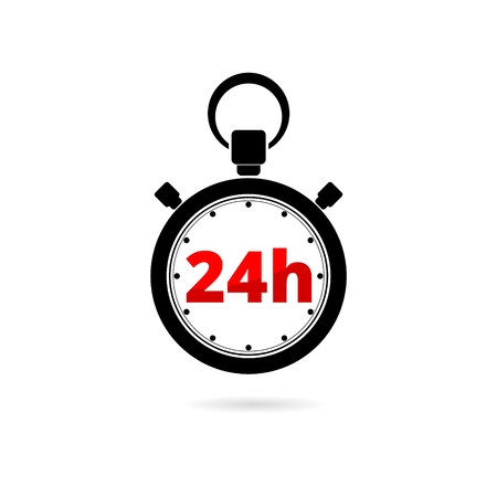 Vector illustration of 24h stopwatch icon on white background