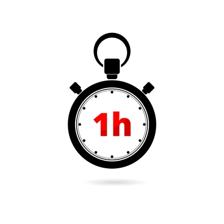 Vector illustration of 1h stopwatch icon on white background