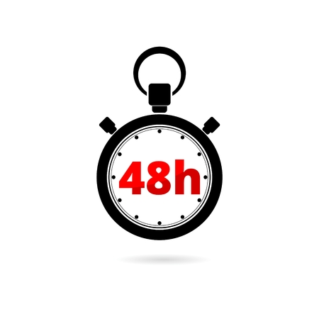 Vector illustration of 48h stopwatch icon on white background