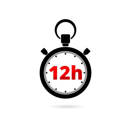 Vector illustration of 12h stopwatch icon on white background