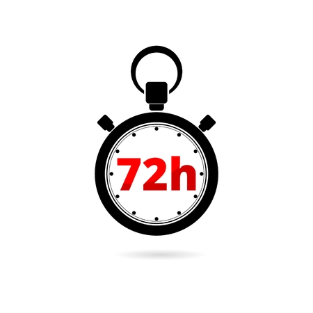 Vector illustration of 72h stopwatch icon on white background