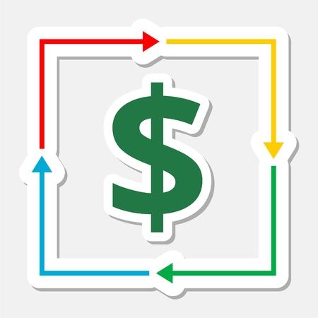 stylized banking: Money convert icon