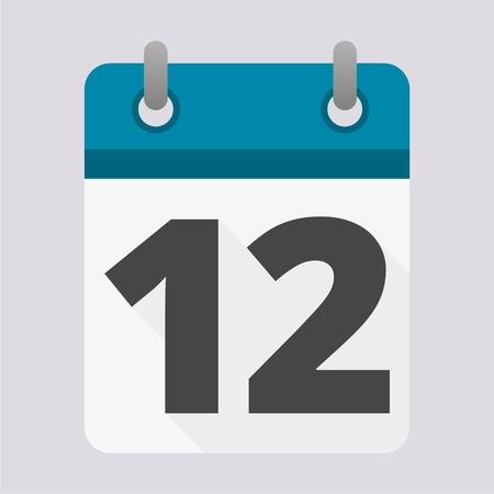 number 12: Blue Calendar icon with long shadow - number 12