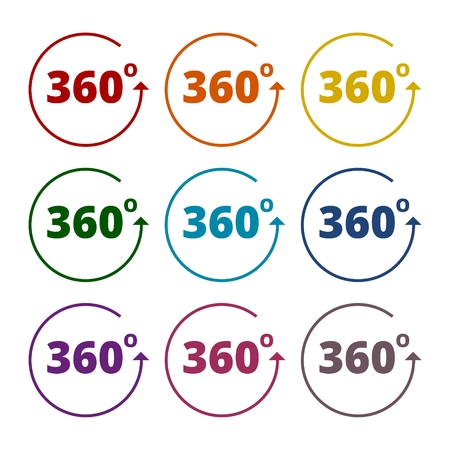 degrees: Angle 360 degrees sign icons set