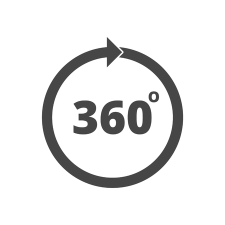 degrees: Angle 360 degrees sign icon