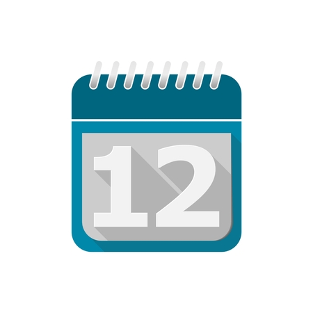 number 12: Blue Calendar Vector Icon - number 12