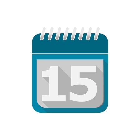 number 15: Blue Calendar Vector Icon - number 15