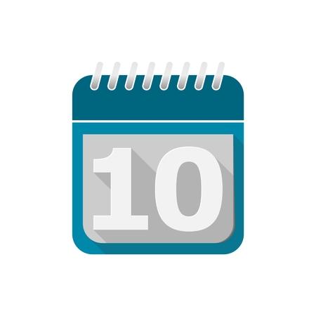 number 10: Blue Calendar Vector Icon - number 10