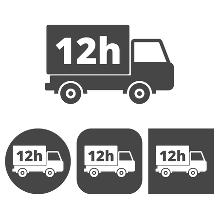 a 12: 12 hours service - vector icons set