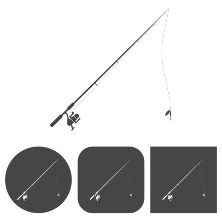 Fishing rod - vector icons set Illustration