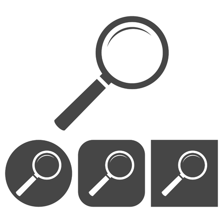 retrieval: Magnifying glass - vector icons set Illustration