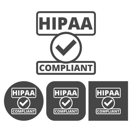 portability: HIPAA badge, Health Insurance Portability and Accountability Act - vector icons set