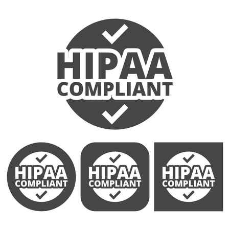 compliant: HIPAA badge, Health Insurance Portability and Accountability Act - vector icons set