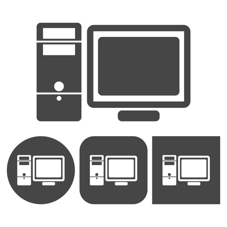 lcd panel: Desktop computer icon - vector icons set