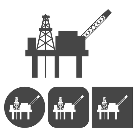 rig: Oil rig vector icons set Illustration