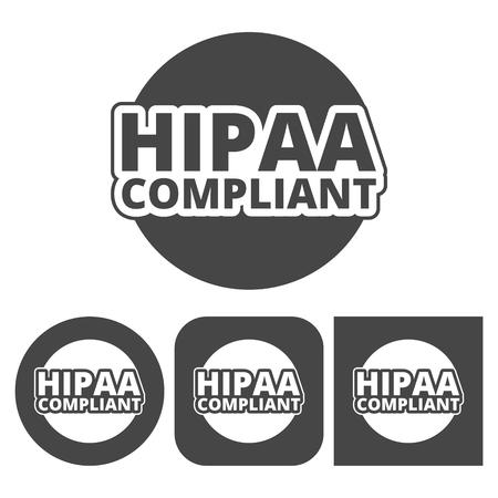 accountability: HIPAA badge, Health Insurance Portability and Accountability Act - vector icons set