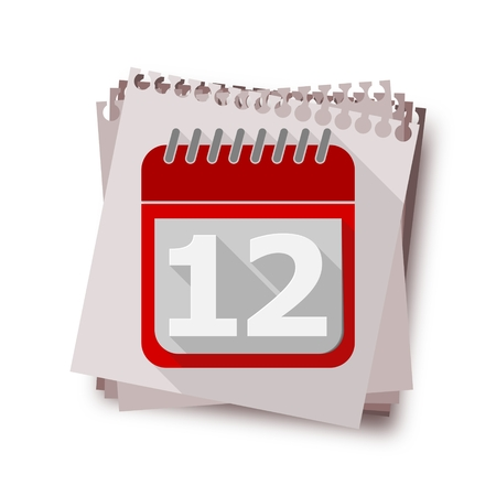 number 12: Red Calendar with long shadow - Vector Icon number 12 Illustration
