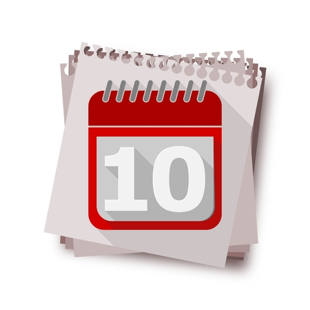 number 10: Red Calendar with long shadow - Vector Icon number 10 Illustration