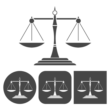 fair trial: Justice scales silhouette - vector icons set