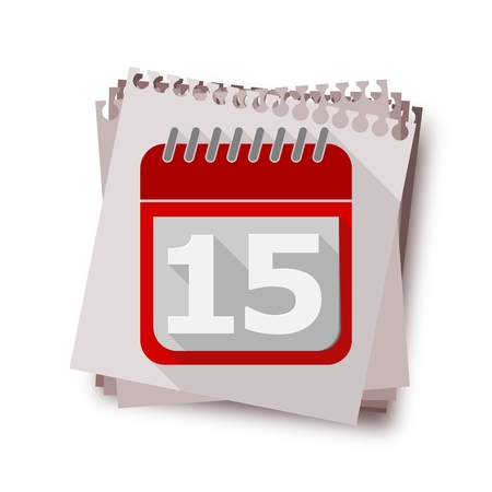 number 15: Red Calendar with long shadow - Vector Icon number 15
