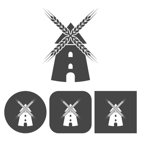 dutch culture: Windmill icon - vector icons set