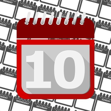 number 10: Red Calendar - Vector Icon number 10 Illustration