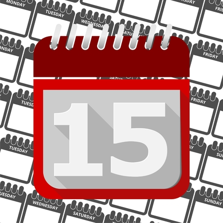 number 15: Red Calendar - Vector Icon number 15