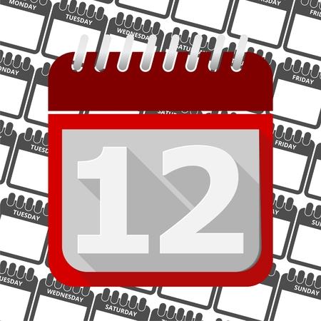 number 12: Red Calendar - Vector Icon number 12 Illustration