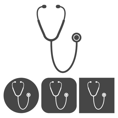 gray netting: Stethoscope - vector icons set