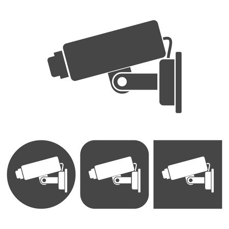 caution cctv: Security camera icon - vector icons set