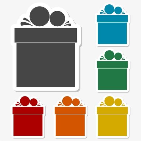 Multicolored paper stickers - Gift Box