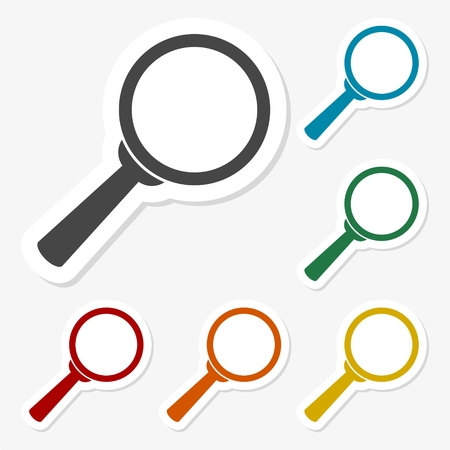 retrieval: Multicolored paper stickers - Magnifying glass