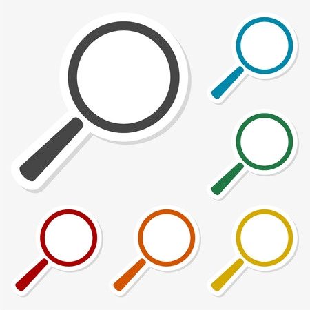 Multicolored paper stickers - Magnifying glass