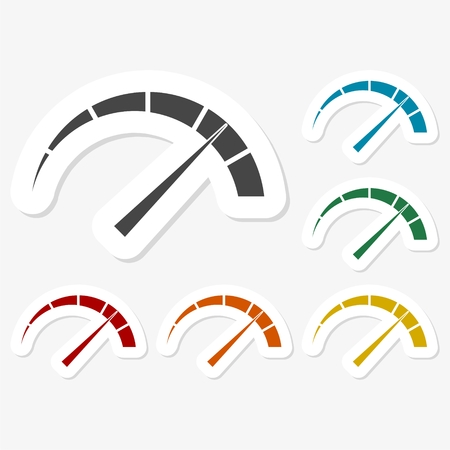 Bunte Papier-Aufkleber - Manometer