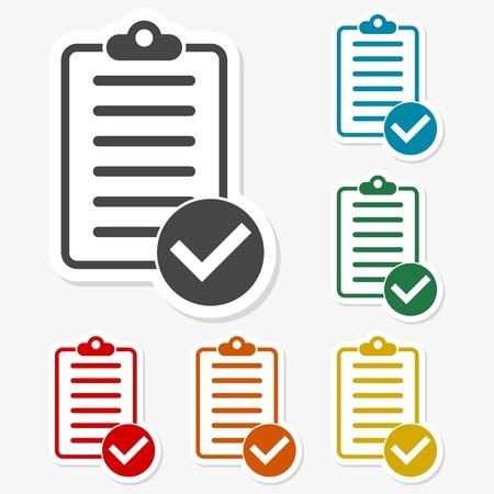 folio: Multicolored paper stickers - Checklist icon Illustration