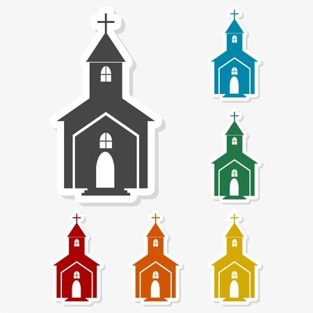 alter: Multicolored paper stickers - Church