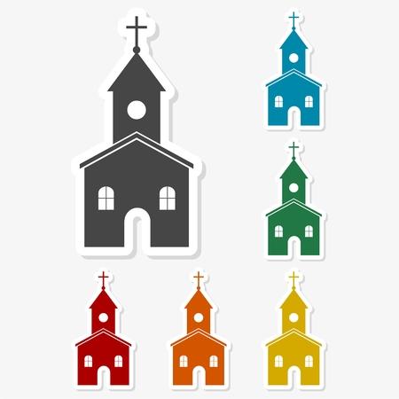Multicolored paper stickers - Church