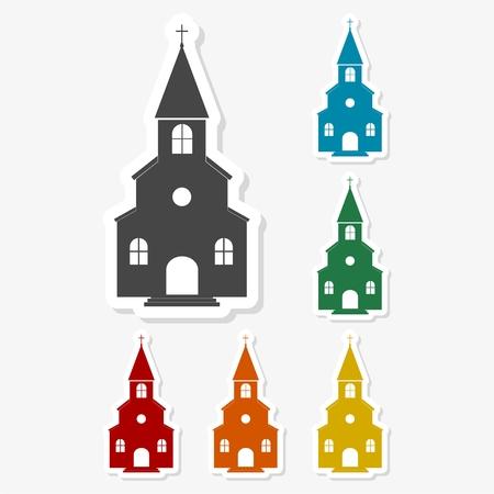 pastor: Multicolored paper stickers - Church