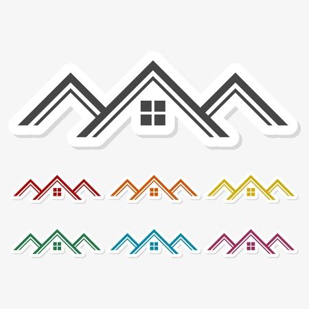 여러 가지 빛깔 된 종이 스티커 - 집 지붕 스톡 콘텐츠 - 64120311