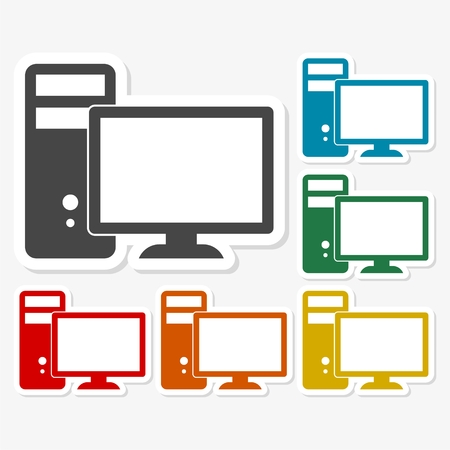 lcd: Multicolored paper stickers - Desktop computer icon