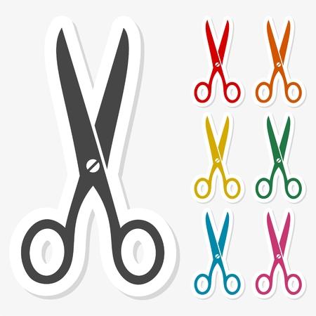 scissors icon: Multicolored paper stickers - Scissors icon