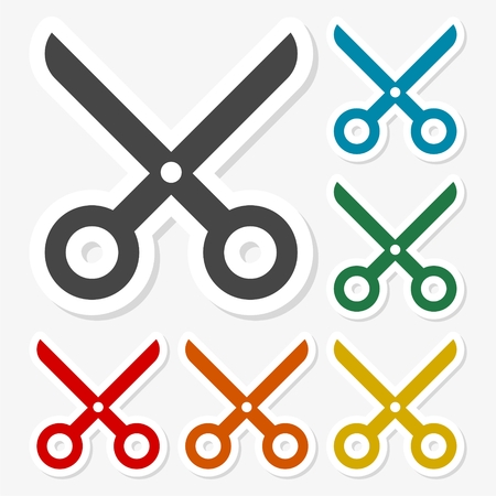 Multicolored paper stickers - Scissors icon