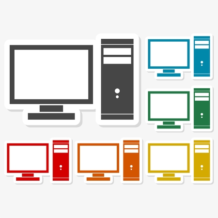 memory stick: Multicolored paper stickers - Desktop computer icon