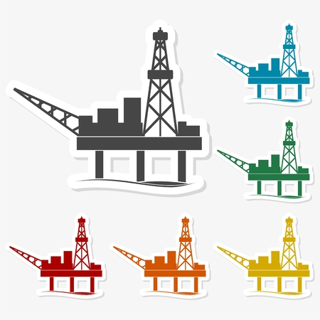 natural gas production: Multicolored paper stickers - Oil rig
