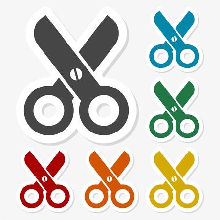 Multicolored paper stickers - Scissors icon