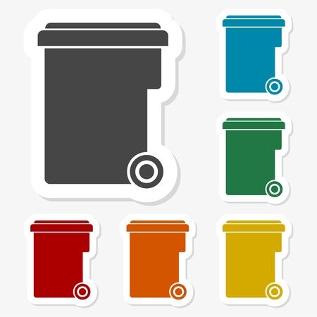 Multicolored paper stickers - Trash bin