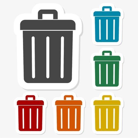 trash bin: Multicolored paper stickers - Trash bin