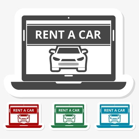 key handover: Multicolored paper stickers - Rent a Car Transportation design Illustration