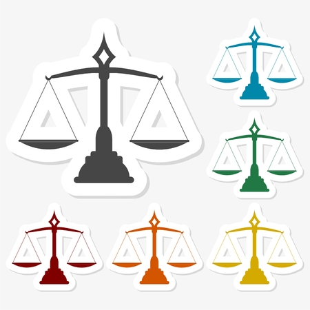 Multicolored paper stickers - Justice scales silhouette