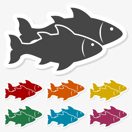 Multicolored paper stickers - Fish icon